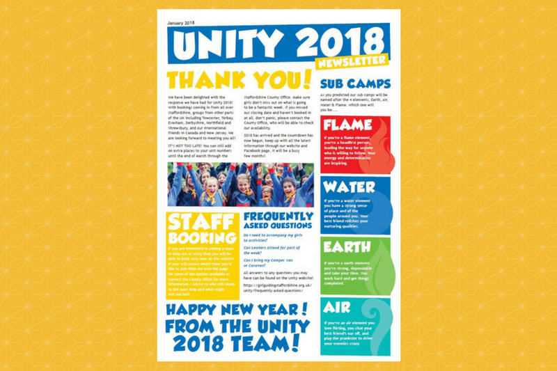 Unity Newsletter – January 2018